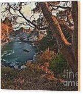 Sunset At Mcway Falls Wood Print