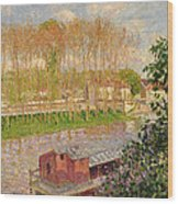 Sunset At Moret Sur Loing Wood Print by Camille Pissarro