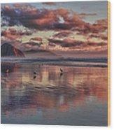 Sunset At Morro Strand Wood Print