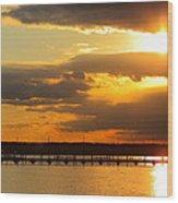 Sunset At National Harbor Wood Print