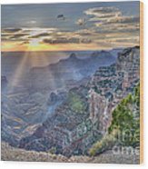 Sunset At Northern Rim Of The Grand Canyon Wood Print