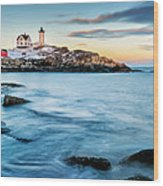 Sunset At Nubble Light-cape Neddick Maine Wood Print by Thomas Schoeller