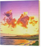 Sunset At Oneloa Beach Maui Wood Print