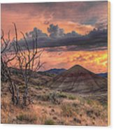 Sunset At Painted Hills In Oregon Wood Print