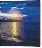 Sunset At Parksville Beach Wood Print