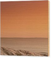 Sunset At Peggy's Cove Lighthouse Wood Print