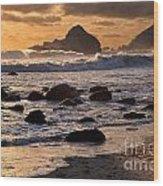 Sunset At Pfeiffer Beach Wood Print