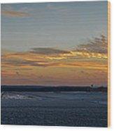Sunset At Pocono Airport Wood Print