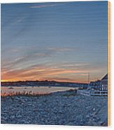 Sunset At Scituate Light Wood Print