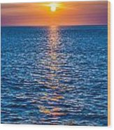 Sunset At Sea With Multiple Color Prizm Wood Print