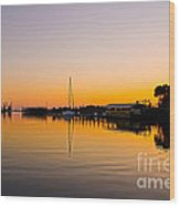 Sunset At Shem Creek Wood Print