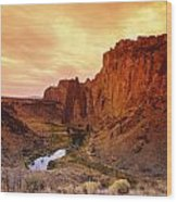 Sunset At Smith Rock Wood Print