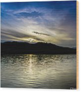 Sunset At South Tellico Lake Wood Print by Paul Herrmann