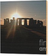 Sunset At Stonehenge 3 Wood Print by Deborah Smolinske