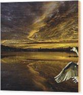 Sunset At Swan Lake  Wood Print