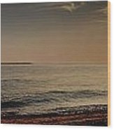 Sunset At The Beach Panorama Wood Print