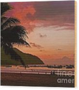 Sunset At The Beach - Puerto Lopez - Ecuador Wood Print