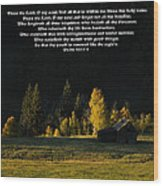 Sunset At The Cabin With Scripture Wood Print