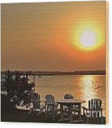 Sunset At The Docks Wood Print