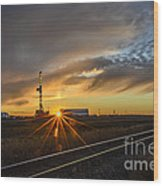 Sunset At The Edge Of Oil Rigs Wood Print