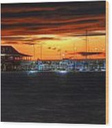 Sunset At The Fairhope Pier Wood Print