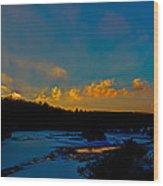 Sunset At The Green Bridge Wood Print