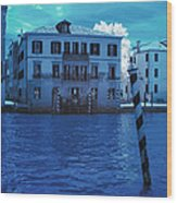 Sunset At The Hotel Canal Grande Venice Italy Near Infrared Blue Wood Print