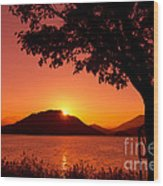 Sunset At The Lake Wood Print by Beverly Claire Kaiya