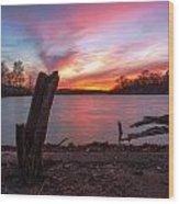 Sunset At The Lake Wood Print
