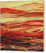 Sunset At The Red River Abstract Wood Print