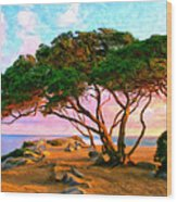 Sunset At The Wedge In Newport Beach Wood Print