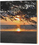 Sunset At Tropical Beach. Wood Print