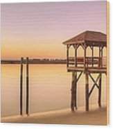 Sunset At Tybee Wood Print