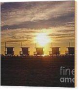 Sunset At Venice Beach Wood Print