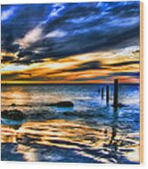 Sunset At Washed Out Pier Wood Print