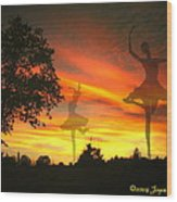 Sunset Ballerina Wood Print by Joyce Dickens