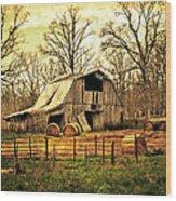 Sunset Barn Wood Print