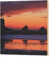 Sunset Bay Sunset 2 Wood Print