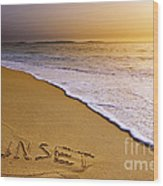Sunset Beach Wood Print by Carlos Caetano