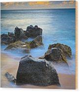 Sunset Beach Rocks Wood Print by Inge Johnsson