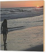 Sunset Beach Silhouette Wood Print