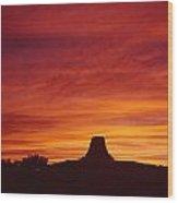 Sunset Behind Devil's Tower Wood Print
