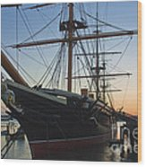 Sunset Behind Hms Warrior Wood Print