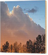 Sunset Between Storm Cells Wood Print