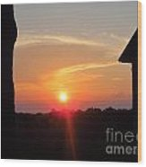 Sunset Between Tree And Barn Wood Print