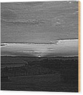 Sunset Black And White Wood Print