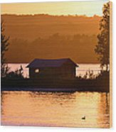 Sunset Boat House Wood Print