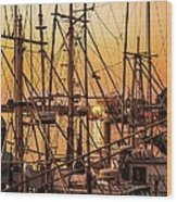 Sunset Boat Masts At Dock Morro Bay Marina Fine Art Photography Print Sale Wood Print