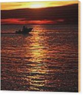 Sunset Boaters Wood Print