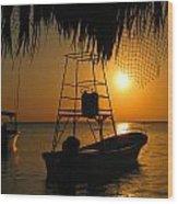 Sunset Boats Wood Print